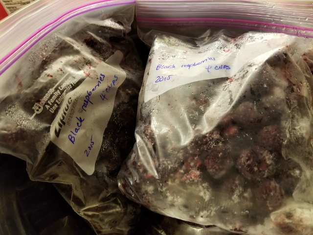 frozen bags of black raspberries