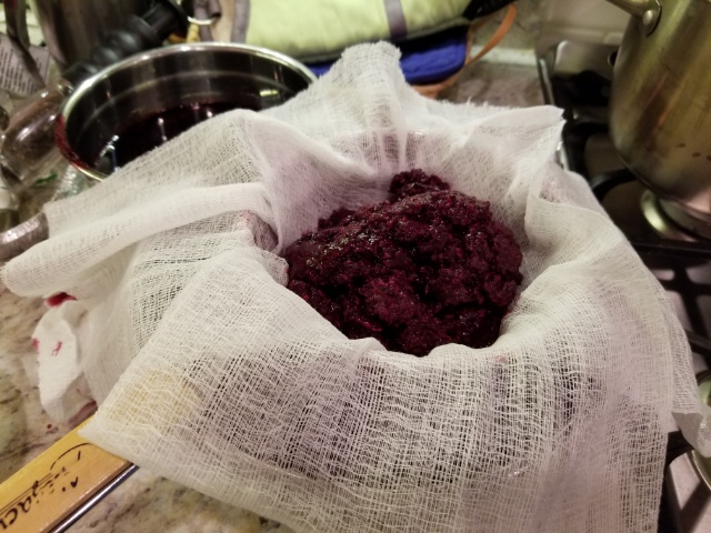 cheesecloth and black raspberry pulp