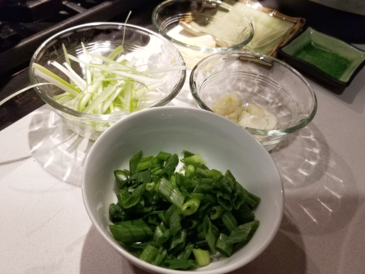 chopped scallions, ginger, and garlic