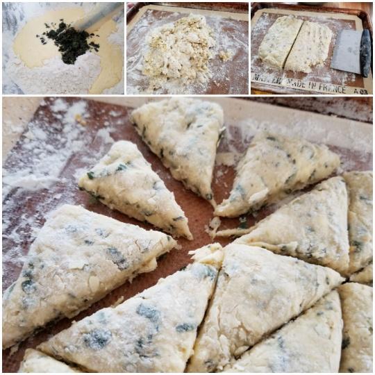 image: assembling dough; cutting triangles
