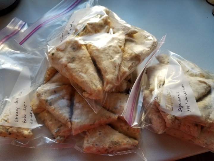 image: frozen scones, bagged