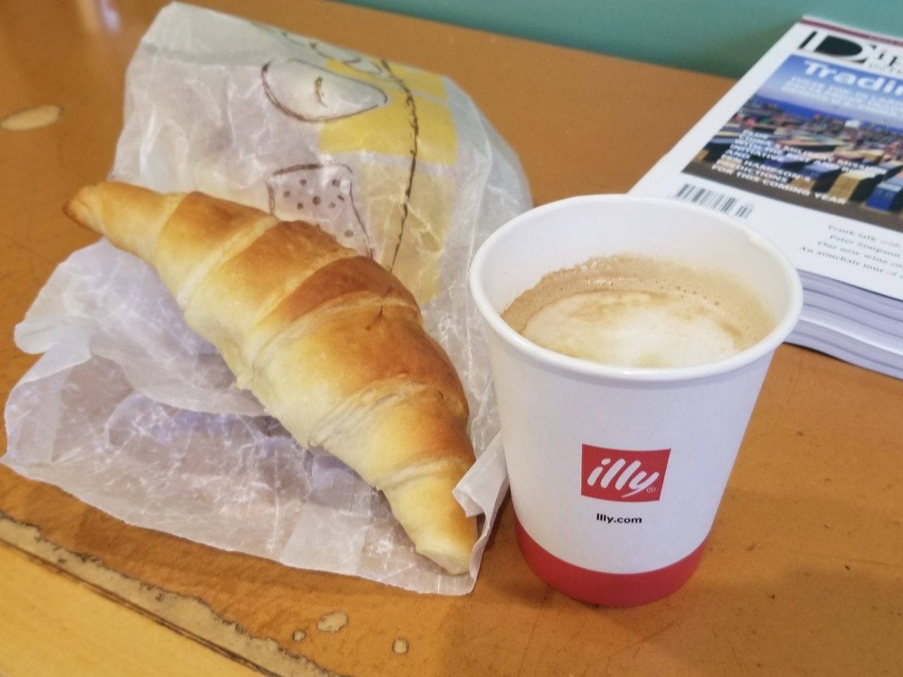 cappuccino and croissant from The French Baker