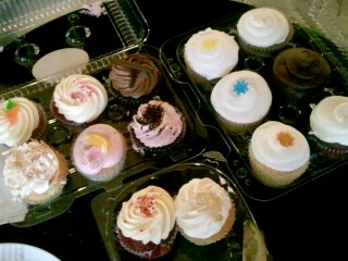 overhead view of cupcakes