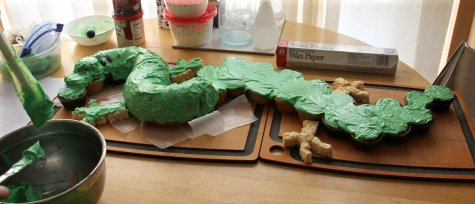 Dragon cake in progress