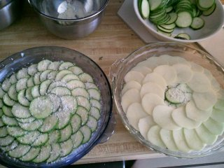 king zucchini gratin in progress
