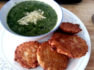 spinach garlic soup with potato pancakes