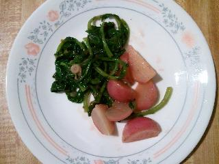 butter braised radishes and radish greens