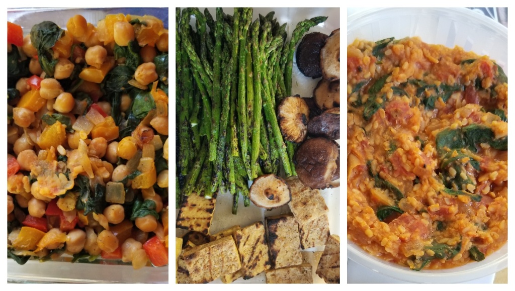 image: sauteed chickpeas with spinach and peppers; grilled asparagus, mushrooms, and tofu; a bowl of dal tadka
