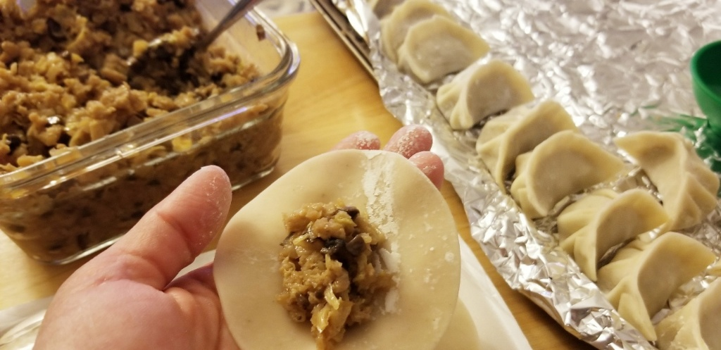 image: a hand holding an unwrapped dumpling; vegan filling in the background; a line of filled, folded dumplings waiting to cook