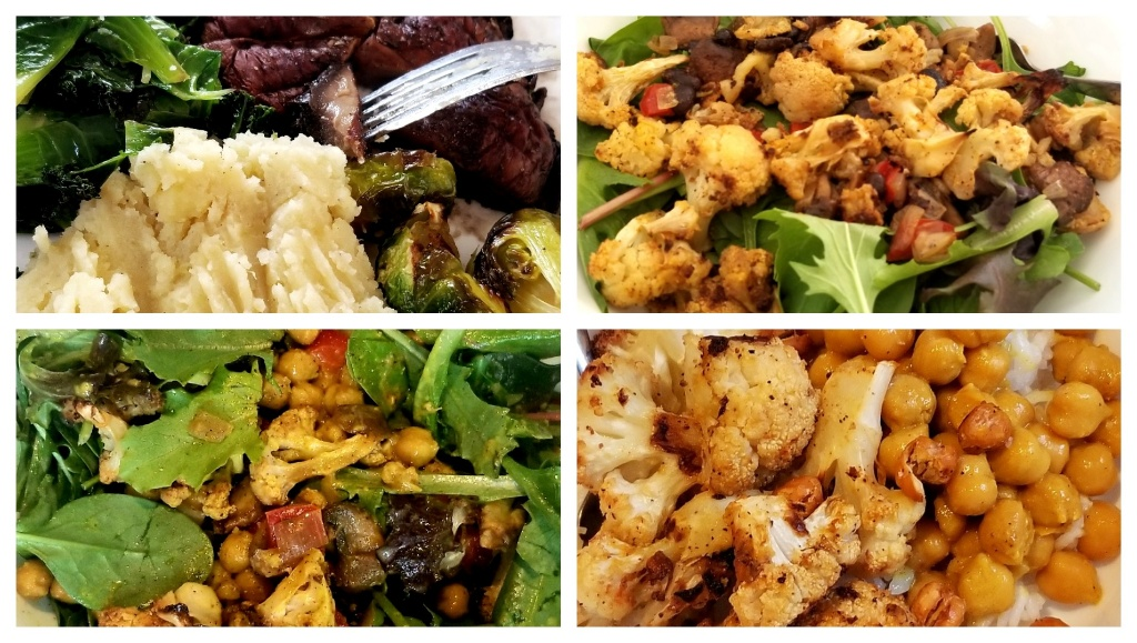 image: portobello cap with Brussels sprouts, sauteed greens, and mashed potatoes; two mixed green salads with roasted cauliflower, mushroom, and tomato; cauliflower and chickpea curry over rice.